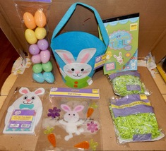 Easter Mix Lot 7 Items Basket Paper Grass Stickers Gel Clings Game Eggs  163B - $12.49