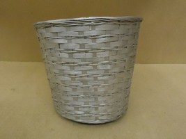 Handcrafted Basket 12in Diameter x 11in H Silver Wicker - $12.52