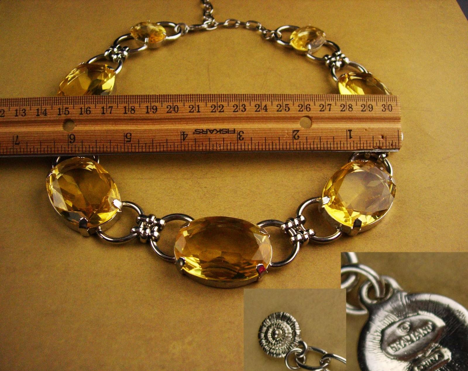 HUGE Graziano necklace - BIG yellow rhinestone choker - statement necklace - cou
