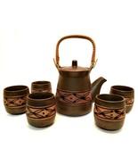Japanese Old Pottery Sake Tea Set Teapot Five Cups Bamboo Handle Vintage... - $64.34