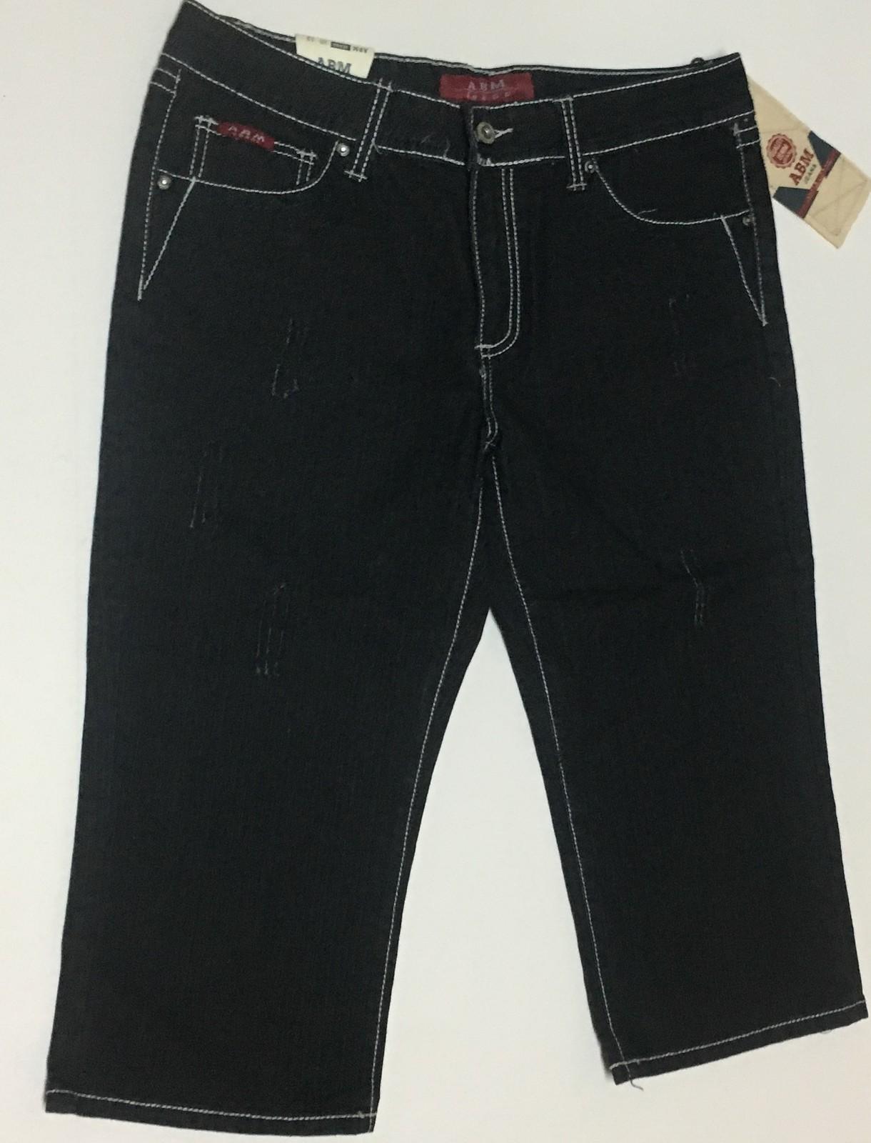 Women's ABM Jeans Capri Junior Sz 13 NWT Black w/White Trim