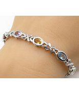925 Sterling Silver - Vintage X Pattern Multi Stone Tennis  Bracelet - B... - $68.12