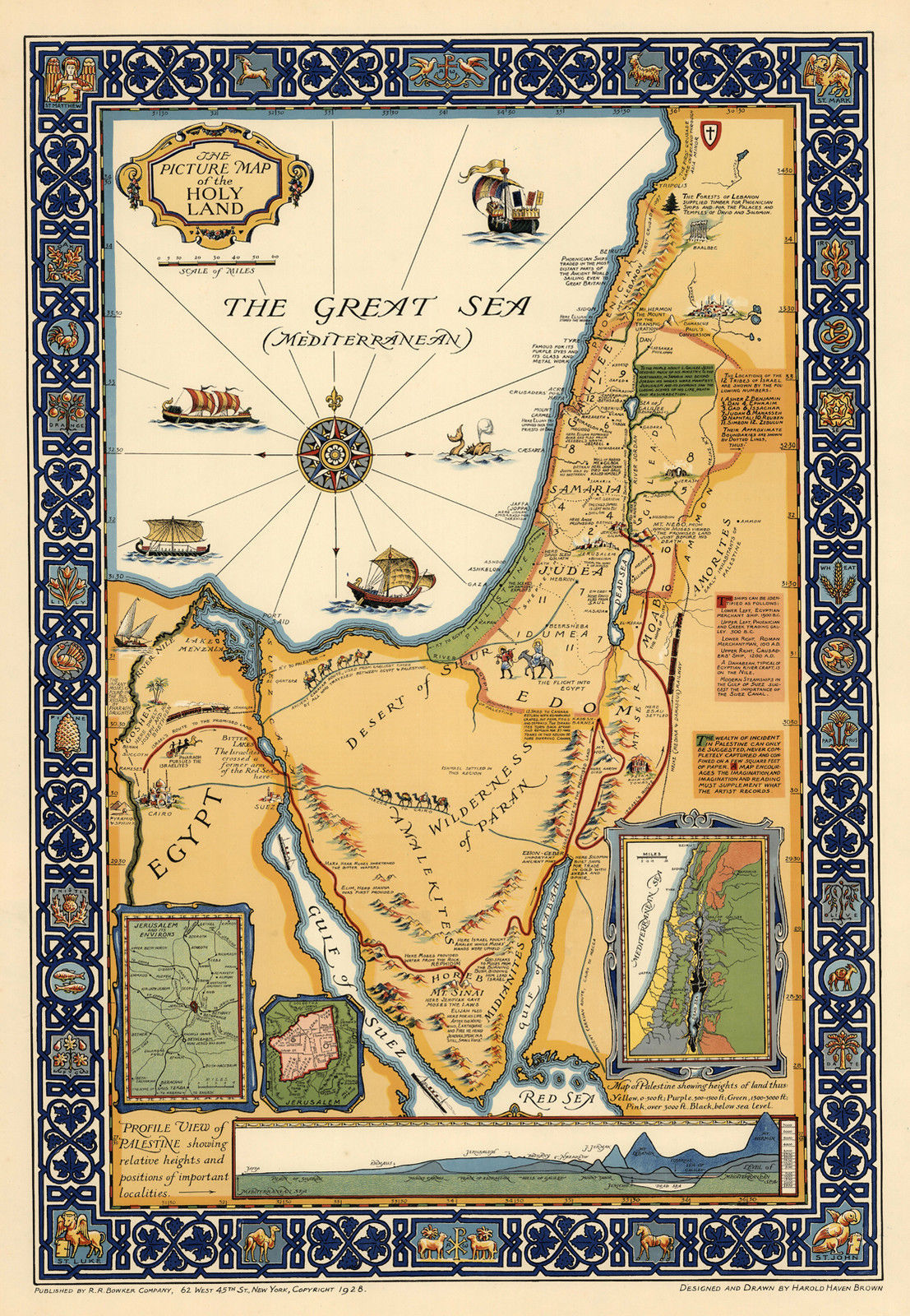 1881 Map of the Environs of Jerusalem Israel Wall Art Poster Vintage History