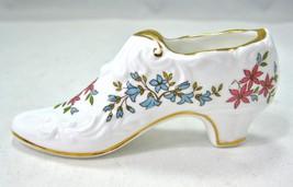 "Porcelain Shoe Victorian Rose Floral, English Bone China 4.5"" Vintage Pa... - $9.85"