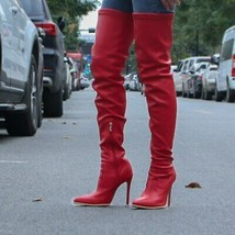 Women Pleated Over The Knee Boots Women's PU Leather Zipper Thigh High Boot L... - $67.87+