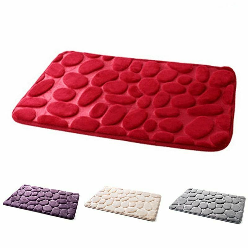 Pebble Flannel Non Slip Rug Foam Pad Mat Floor 40*60cm Carpet Home Garden Decor image 2
