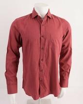 Massimo Dutti Mens Melange Twill Shirt M Red Slim Fit Kent Collar 0146/1... - $39.59