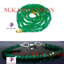 """Natural green onyx 3-4mm Beads Beaded 24"""" Necklace 7"""" Bracelet Jewelry Set - $25.87"""