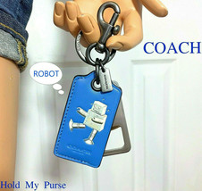 Coach Bottle Opener Keychain Fob Blue Leather ~ NWT - $59.40