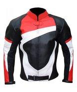 MENS BIKER LEATHER BLACK RED WHITE BIKER LEATHER JACKET, BIKER JACKET FO... - $149.99+
