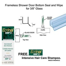 """Shower Door Dual Durometer PVC Seal & Wipe for 3/8"""" Glass - 32"""" long w/ ... - $11.83"""