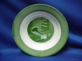 "Colonial Homestead Circa 1750 Soup Bowl 8 1/2"" Green Royal China Currier & Ives - $9.89"