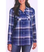 Jessica Simpson Petunia Button-Up Shirt, Clematis Blue Pliad, Size M - $12.86