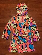 Justice Girls Fleece Emoji Robe Sz 5 Orange Yellow Blue Purple Hood Soft... - $9.99