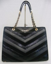 NWT! MICHAEL Michael Kors Susannah Chevron Large Shoulder Bag / Tote in Black - $339.00
