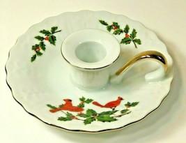 Lefton Candlestick Holder Chamber Candle Plate Cardinal Christmas Vintage 1984  - $14.84