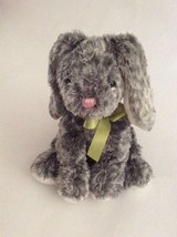 "MARY MEYER Sweet Rascals gray silver white BUNNY RABBIT W/ GREEN BOW 9"" ... - $15.88"