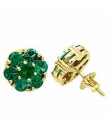 4Ct Round Cut Green Emerald Flower Halo Stud Earrings 14K Yellow Gold Fi... - $110.49