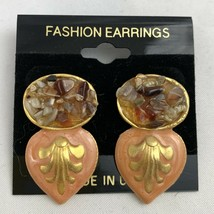 Vintage Peach Enamel Dangle Earrings Faux Stone Chip Gold Tone NOS 80s 90s - $12.58