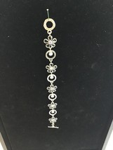 "Swarovski blue and topaz crystals silver bracelet Signed m4m 7 1/2"" - $20.00"