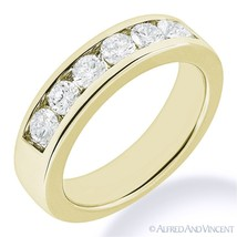 Round Cut Forever ONE D-E-F Moissanite 14k Yellow Gold 7-Stone Band Wedding Ring - €628,69 EUR - €3.026,15 EUR