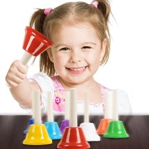 Hand Bell Set - 8 Note Diatonic Metal Bells With Song Sheet Musical Inst... - $32.99