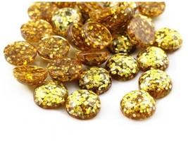 80pcs 12mm Round Yellow Glitter Resin Cabochon Flatback Craft Jewelry Ma... - $12.00
