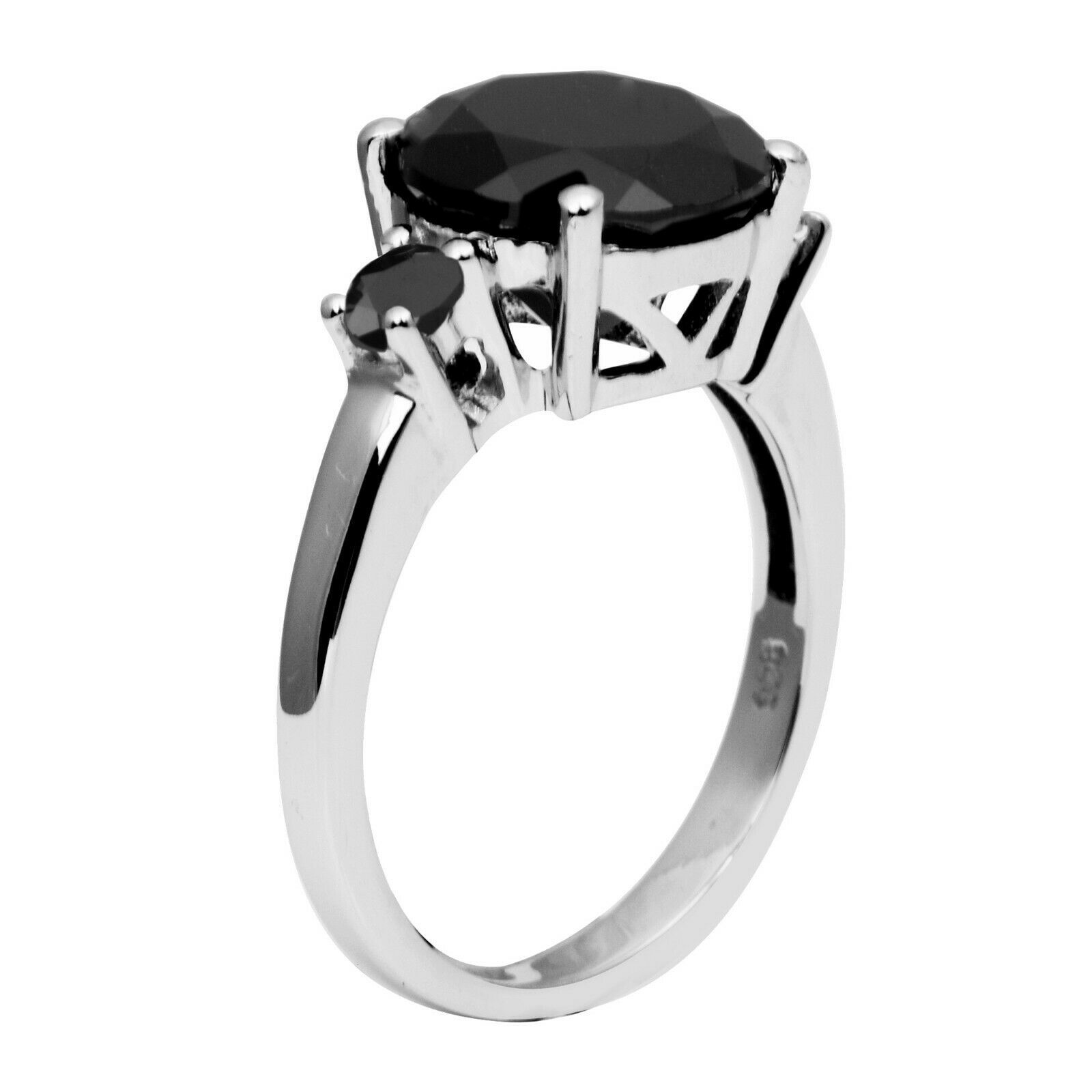 Shine Jewel 925 Sterling Silver 5.65 Ct Black Onyx Engagement Solitaire Ring