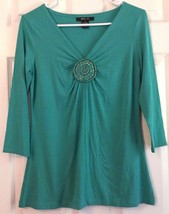 Style & Co Rayon Knit Top Beaded Rosette Embellishment Turquoise V-Neck ... - $9.85