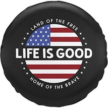 """Life is good Unisex Tire Cover Circle Flag, Night Black, 29"""""""