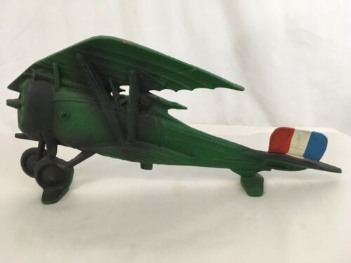 "Primary image for Cast Iron Vtg 19"" Green Tango Flag Model Airplane"
