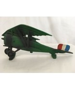 "Cast Iron Vtg 19"" Green Tango Flag Model Airplane - $78.21"