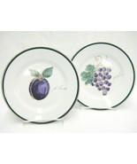 "Crate & Barrel Salad Plates Lot 2 Fruit Design Grapes Plum 8.25"" Purple ... - $14.84"