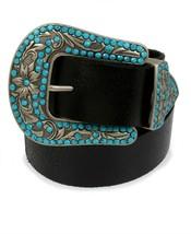 Frye & Co Turquoise Embellished Silver Buckle Western Black Leather Belt... - $38.00