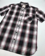 Men's Levi's Black | White | Burgundy Plaid S/S Button Down Shirt             - $69.00