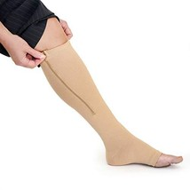 Short/Petite Zippered Compression Socks with Open Toe - Best Leg Support... - $20.48
