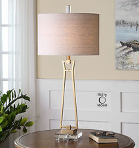 "MODERN DESIGNER 36"" ANTIQUED GOLD FORGED METAL TABLE BUFFET LAMP CRYSTAL... - $323.40"