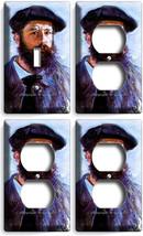 Claude Monet Self Portrait Painting 1 Light Switch 3 Outlet Wall Plate Art Decor - $35.09