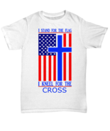 I Stand For The Flag I Kneel For The Cross Red White Blue T Shirt Footba... - $17.82+