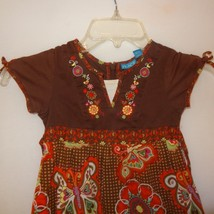 Dress Flowers Butterflies Size 3T Girls Childrens Place Brown Blue Orange - $11.56