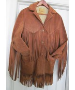 DEER WEAR Western Cowhide Leather Sheepskin Jacket Coat Fringe Brown 36 ... - $169.95