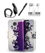 Motorola Moto E5 Plus / Supra Purple Vines Design Flip Pouch Magnetic Wa... - $12.99
