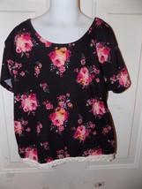 Mudd Floral Black Cropped Shirt Size 12 Girl's EUC - £11.37 GBP