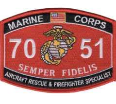 """4.25"""" MARINE CORPS MOS 7051 AIRCRAFT RESCUE AND FIREFIGHTER EMBROIDERED ... - $16.24"""