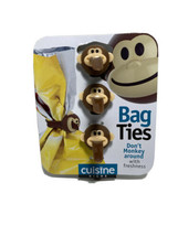 New! Monkey Face Bag Ties for Freshness by Cuisine Niche  3 Ties - $7.84