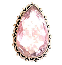 Large Pink Quartz 925 Sterling Silver Statement Ring 7 - $75.00