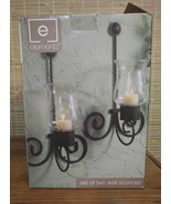 ELEMENTS SET OF TWO WALL SWIRL ACCENTS SCONCES GLASS candle 8.3 X 6.3 X ... - $25.47