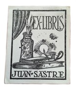 Ex Libris Exlibris Bookplate Juan Sastre 1947 Butterflies Oil Lamp Brushes - $29.69