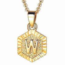 FOCALOOK W Initial Necklace Tiny Alphabet Charm 18K Gold Plated Letter M... - $10.15