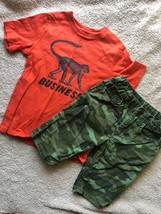 GAP KIDS Summer Outfit Set Graphic T-Shirt + Camo Jeans Shorts Boys 5 Mo... - $29.70